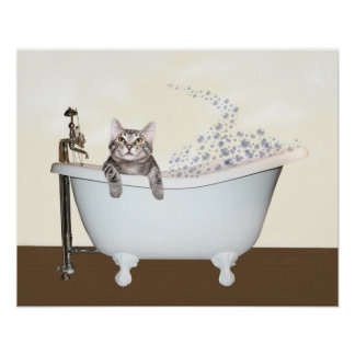 Kitty bath time poster