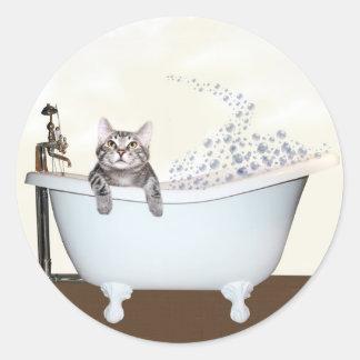 Kitty bath time round sticker