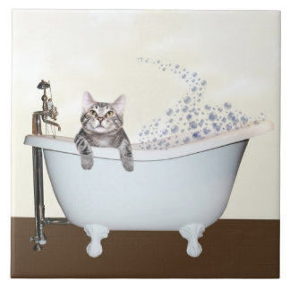 Kitty bath time large square tile