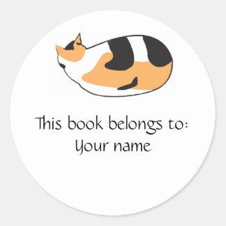 Kitty Book label Round Stickers