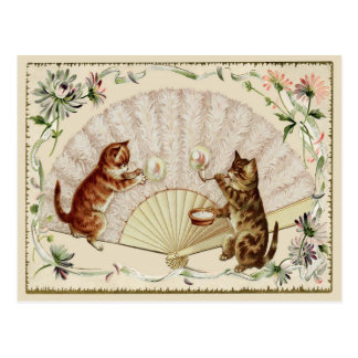 Kitty Bubbles & Fan Vintage Reproduction Postcard