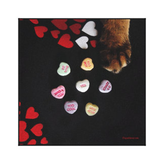 """Kitty Candy Hearts 8""""x8"""" Wrapped Canvas Stretched Canvas Print"""