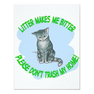 kitty cat 11 cm x 14 cm invitation card