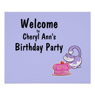 Kitty Cat and Cake Party Welcome Sign Posters