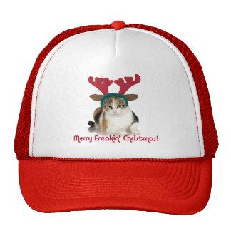 Kitty Cat & Antlers Merry Freakin Christmas Cap