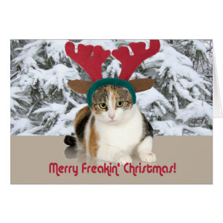 Kitty Cat & Antlers Merry Freakin Christmas Greeting Card