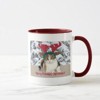 Kitty Cat & Antlers Merry Freakin Christmas Mug