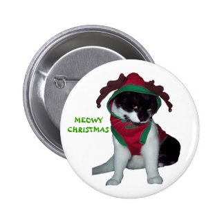 KITTY CAT CHRISTMAS BUTTON
