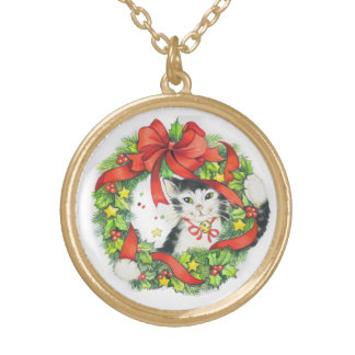 Kitty Cat Christmas Wreath necklace by Peggy Toole