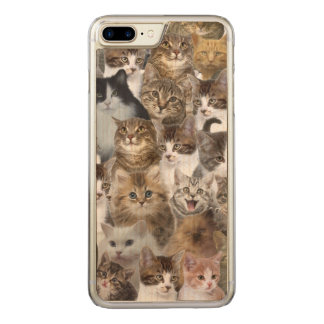 Kitty Cat Faces Pattern Carved iPhone 8 Plus/7 Plus Case