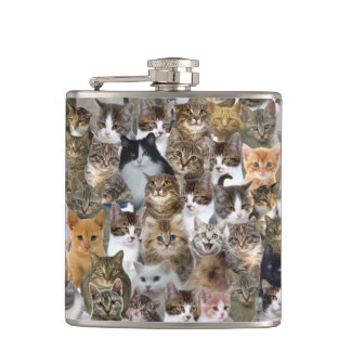 Kitty Cat Faces Pattern Hip Flask