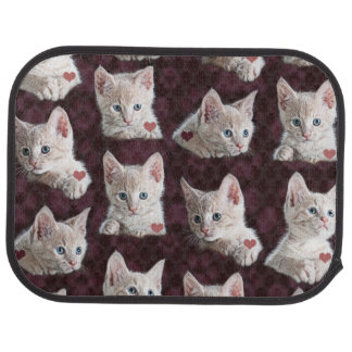 Kitty Cat Faces Pattern With Hearts Image Car Mat