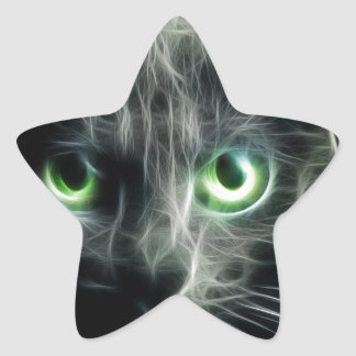 Kitty cat glowing green eyes star sticker