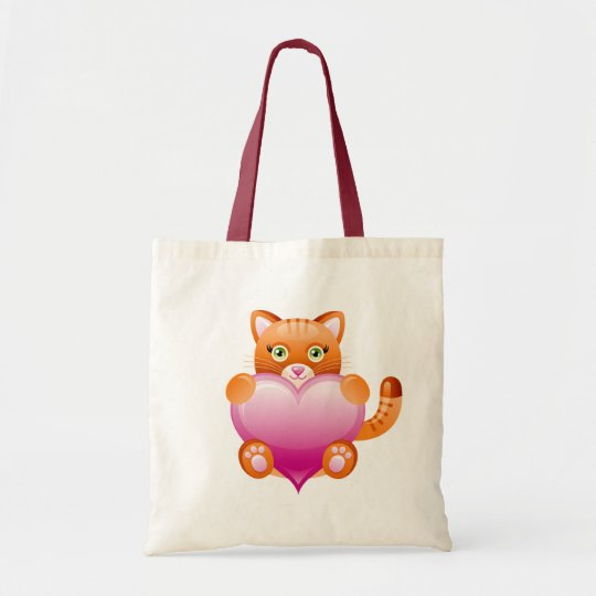 KITTY CAT HOLDING PINK HEART TOTE BAG