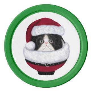 Kitty Cat Holiday Santa Poker Chips