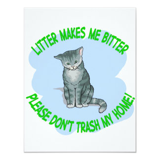 "kitty cat 4.25"" x 5.5"" invitation card"