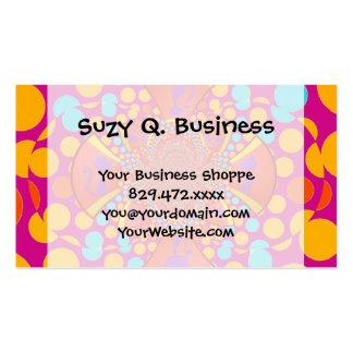 Kitty Cat Kaleidoscope Pink Teal Polka Dots Business Card Templates