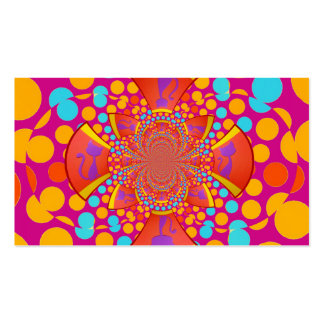 Kitty Cat Kaleidoscope Pink Teal Polka Dots Double-Sided Standard Business Cards (Pack Of 100)