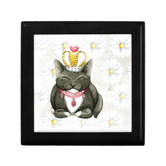 Kitty Cat King Queen Funny Art Small Square Gift Box