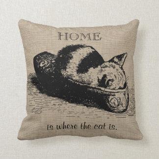 Kitty Cat Kitten Slipper Burlap Linen Pillow