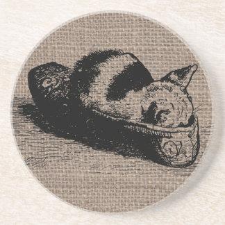 Kitty Cat Kitten Slipper Burlap Sandstone Coaster
