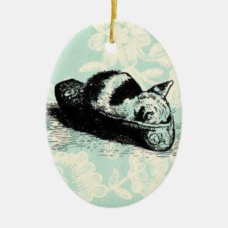 Kitty Cat Kitten Slipper Mint Lace Oval Ornament