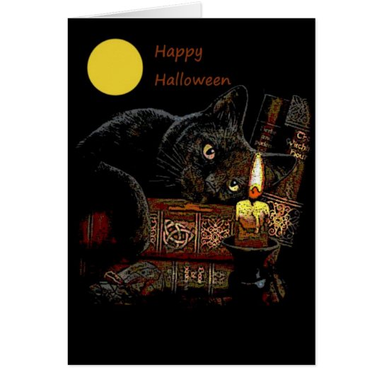Kitty Cat Library Halloween Greeting Card