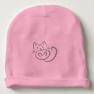 Kitty Cat Line Drawing Baby Beanie