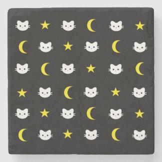 Kitty Cat Moon And Stars Marble Stone Coaster