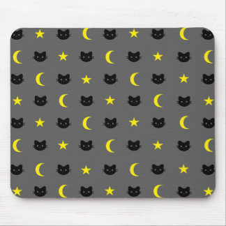 Kitty Cat Moon And Stars Mousepad
