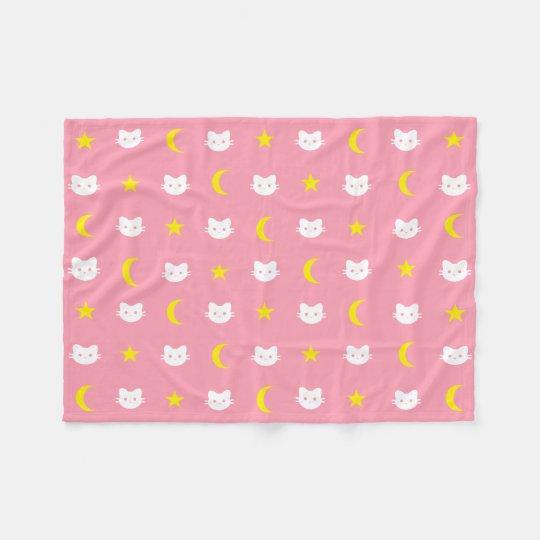 Kitty Cat Moon And Stars Polyester Fleece Blanket