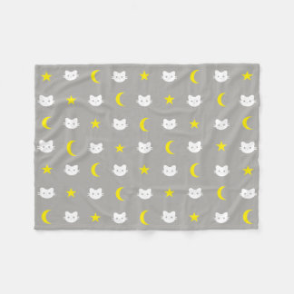Kitty Cat Moon And Stars Polyester Fleece Blanket