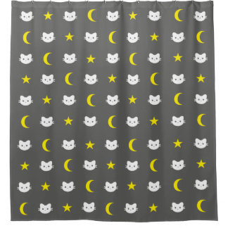 Kitty Cat Moon And Stars Shower Curtain