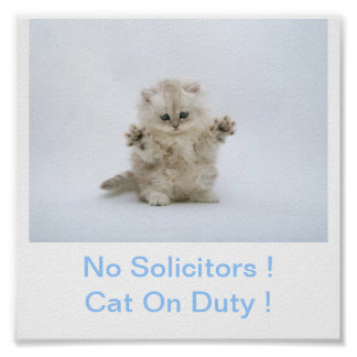 Kitty Cat No Solicitors Sign