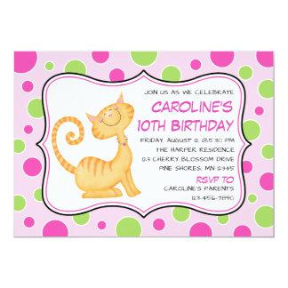 Kitty Cat & Polka Dots Birthday Invitations