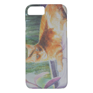 Kitty Cat Relaxing in Window Seat iPhone 7 Case