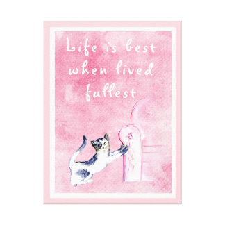 KITTY CAT SCRATCHING THE SOFA, HAPPY PINK CAT CANVAS PRINT