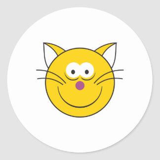 Kitty Cat  Smiley Face Round Sticker
