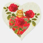 Kitty Cat Valentine Heart Sticker