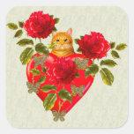 Kitty Cat Valentine Square Sticker