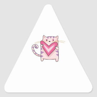 KITTY CAT WITH HEART TRIANGLE STICKER