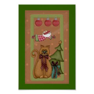 Kitty Cat with Tree Picture Poster