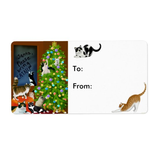 Kitty Cats Christmas Present Label