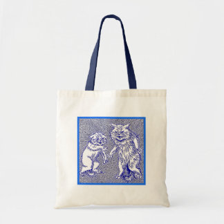 Kitty Cats in Blue by Louis Wain Canvas Bags