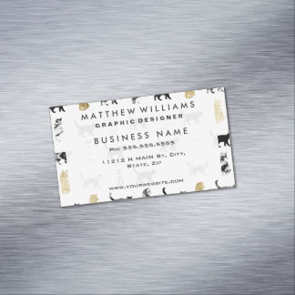 Kitty Cats in Gold and Black and White Marble Magnetic Business Cards