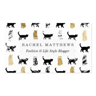 Kitty Cats in Gold and Black and White Marble Pack Of Standard Business Cards