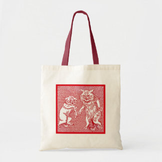 Kitty Cats in Red by Louis Wain Canvas Bags