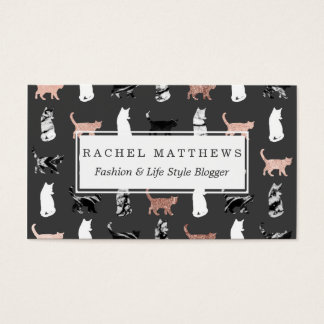 Kitty Cats in Rose Gold and Black and White Marble