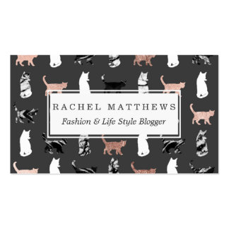 Kitty Cats in Rose Gold and Black and White Marble Pack Of Standard Business Cards