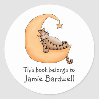 Kitty Cats · Tabby Cat in the Moon Classic Round Sticker
